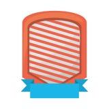 shield emblem stripes blue ribbon Stock Photo