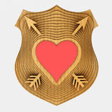 The shield emblem is stylized to the heart. 3D illustration. Royalty Free Stock Photos