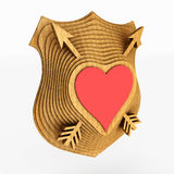 The shield emblem is stylized to the heart. 3D illustration. Stock Image
