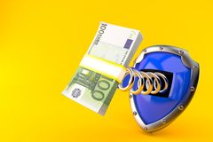 Shield with euro currency. Isolated on orange background. 3d illustration Royalty Free Stock Photography