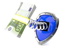 Shield with euro currency Stock Photo