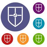 Shield for fight icons set. In flat circle reb, blue and green color for web Royalty Free Stock Photos