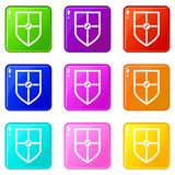Shield for fight set 9. Shield for fight icons of 9 color set isolated vector illustration Royalty Free Stock Photo