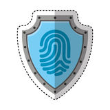 Shield with finger print isolated icon Royalty Free Stock Photo