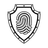Shield with finger print isolated icon Royalty Free Stock Images