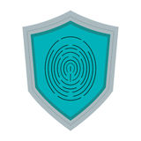 Shield with fingerprint icon Stock Photos