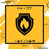 Shield with fire sign - protection icon. Element for your design Royalty Free Stock Image