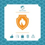 Shield with fire sign - protection icon. Graphic element for your design Royalty Free Stock Images