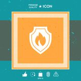 Shield with fire sign - protection icon. Graphic element for your design Stock Images