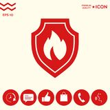 Shield with fire sign - protection icon. Signs and symbols - graphic elements for your design Royalty Free Stock Photography