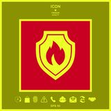 Shield with fire sign - protection icon. Signs and symbols - graphic elements for your design Stock Photos