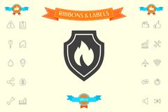Shield with fire sign - protection icon. Signs and symbols - graphic elements for your design Stock Images