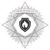 Shield with fire sign - protection icon. Signs and symbols - graphic elements for your design Stock Photo