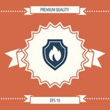 Shield with fire sign - protection icon. Signs and symbols - graphic elements for your design Royalty Free Stock Image