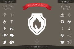 Shield with fire sign - protection icon. Signs and symbols - graphic elements for your design Stock Photography