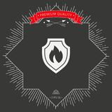 Shield with fire sign - protection icon. Signs and symbols - graphic elements for your design Royalty Free Stock Photos