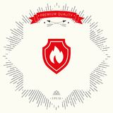 Shield with fire sign - protection icon. Signs and symbols - graphic elements for your design Stock Image