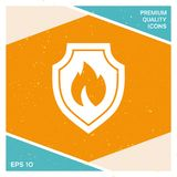 Shield with fire sign - protection icon. Signs and symbols - graphic elements for your design Royalty Free Stock Images