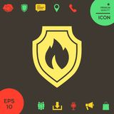 Shield with fire sign - protection icon. Signs and symbols - graphic elements for your design Royalty Free Stock Photo