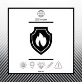 Shield with fire sign - protection icon. Sings, symbols - graphic elements for your design Royalty Free Stock Photo