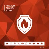 Shield with fire sign - protection icon. Sings and symbols. Graphic elements for your design Royalty Free Stock Photography