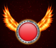 Shield with fire wings. EPS10 vector Stock Photo