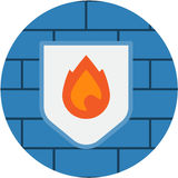 Shield Firewall Internet Security Abstract Icon. Computer Network Internet Protection conceptual illustration isolated . Transparent Stock Images
