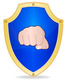 Shield with fist Royalty Free Stock Photography