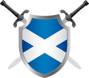 Shield with flag of scotland Royalty Free Stock Photo