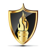 Shield and flame torch Royalty Free Stock Image