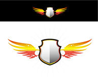 Shield on flaming wings sticker Stock Images
