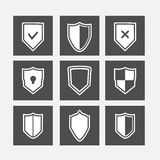 Shield flat icons set Royalty Free Stock Photo