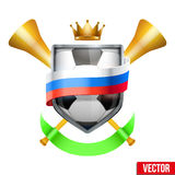 Shield in the football ball inside Russia flag. Stock Photos