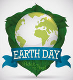 Shield formed for Leaves with World for Earth Day, Vector Illustration Royalty Free Stock Images
