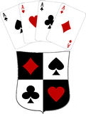 Shield and four aces Stock Photo