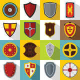 Shield frames icons set, flat style Royalty Free Stock Images