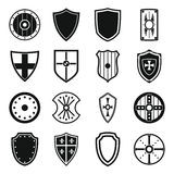 Shield frames icons set, simple style Stock Image