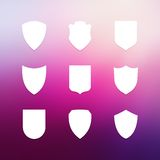 Shield frames simple icons set Stock Photos