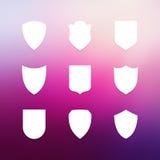 Shield frames simple icons set Stock Photos