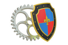 Shield with gear, protection concept Stock Photos