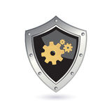 Shield with gears Stock Photography