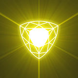 Shield gem glowing light flare Royalty Free Stock Image