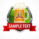 Shield with glass mug of beer Royalty Free Stock Photo