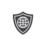 Shield with globe icon vector Royalty Free Stock Photo