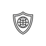 Shield with globe line icon. Outline vector sign, linear pictogram isolated on white. Web protection symbol, logo illustration Royalty Free Stock Photos