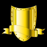 Shield gold. Shield and flag on a black background Stock Photography