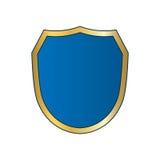 Shield gold blue icon shape emblem Royalty Free Stock Photography