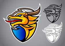 Shield gold dragon emblem logo vector. Illustration design idea creative sign Royalty Free Stock Photography