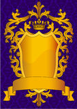 Shield and gold(en) royal crown with pattern Royalty Free Stock Image