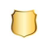Shield gold icon shape emblem Stock Photos